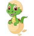 Cute dinosaur cartoon hatching vector image