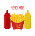 french fries ketchup mustardfried potato vector image