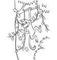 Little monkey swinging on the tree vector image