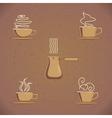 Vintage coffe cup set vector image