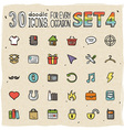 30 Colorful Doodle Icons Set 4 vector image