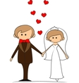 Groom and bride with flying hearts vector image