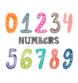 Hand drawn numbers set Collection of cute colorful vector image vector image