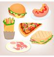Fast food set cheeseburger sandwich sausage shrimp vector image