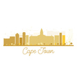 Cape Town City skyline golden silhouette vector image
