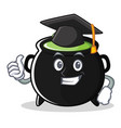 graduation magic cauldron character cartoon vector image