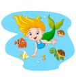 Happy mermaid with sea animal on sea water vector image