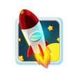 red rocket fly space cartoon vector image