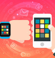 Smart Watch and Smartphone Synchro concept vector image