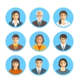 Asian business people simple flat avatars vector image