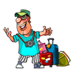 cartoon cheerful man with suitcases vector image