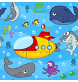 seamless pattern undersea world vector image