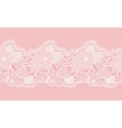 White and pink seamless lace tape on pink vector image