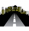 Road to City Silhouette vector image