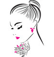 beautiful girl with long eyelashes in pink vector image