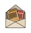 colored crayon silhouette of opened envelope mail vector image