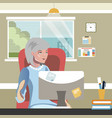 elderly woman work on computer vector image