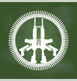 gun and bullet in peace symbol on green board - vector image