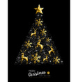 Gold Christmas tree winter decoration ornaments vector image vector image
