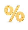 Cheese percent mark Symbol isolated on white vector image vector image