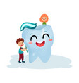 cute little kids cleaning giant smiling tooth vector image