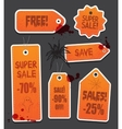 Orange Halloween price sale tags isolated on black vector image