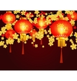 Red Chinese lanterns Round shape with patterns vector image