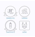 Surfboard swimming pool and lingerie icons vector image