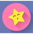 Yellow star with kiss face character vector image