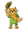 Hilarious cat in a straw hat vector image
