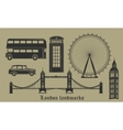 set of London landmarks Britain symbols isolated vector image