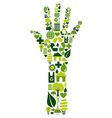 Human hand with environmental icons vector image
