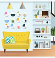 blue living room vector image