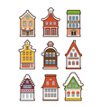 Collection of colorful vintage houses vector image vector image