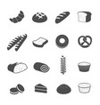 bakery pastry and bread icons set vector image