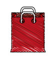 Color crayon stripe cartoon red bag for shopping vector image