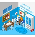 Doctor Examining Patient Isometric Poster vector image
