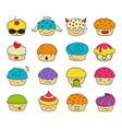 muffin emoji set vector image