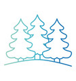 pine trees landscape on gradient color silhouette vector image