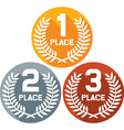 First Second and Third Place Badges vector image