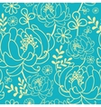 Yellow and blue flowers and leaves seamless vector image