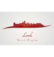 Leeds skyline in red vector image