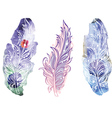 Feather on raster watercolor background vector image vector image