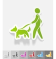 realistic design element walking the dog vector image