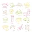 Handdrawn Fast Food and Fruits vector image