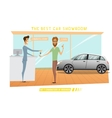 Businessman was buy expensive car in auto-salon vector image