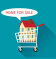 cart with cottage home for sale flat vector image