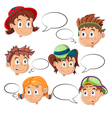 Children Faces with Speech Bubbles vector image