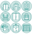 Flat line icons for door vector image