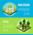 park landscape design isometric posters vector image
